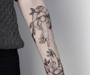 flowers, hands, and tattoo image