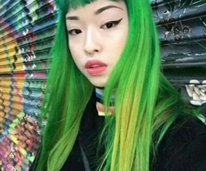 asian girl, green hair, and hairstyle image