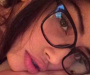 brunette, glasses, and model image