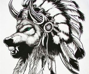 american, native, and wolf image