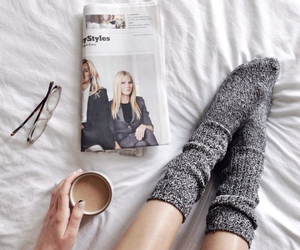 coffee, socks, and magazine image