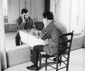 chess, black and white, and mirror image