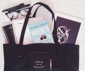 school, backpack, and glasses image