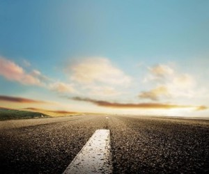 road, sky, and clouds image