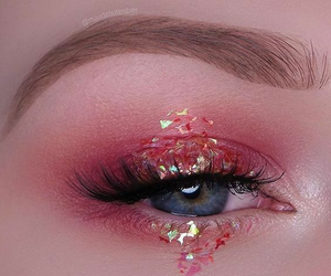 makeup, pink, and eye image