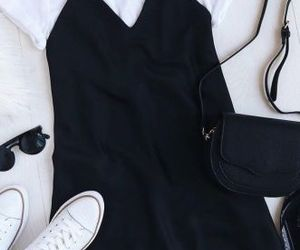 outfit, converse, and dress image