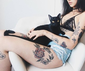 black cat, girl, and pale image