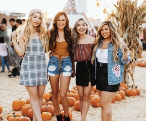 girl, friends, and pumpkin image