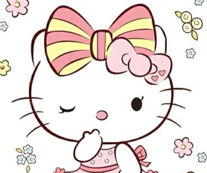 adorable, kitty, and flowes image