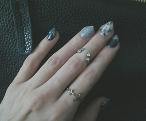 art, black and white, and nails image