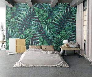 arrangement, palm leaves, and bedroom image