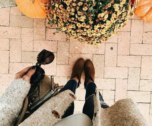 autumn, girl, and flowers image