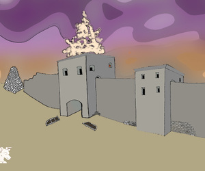 tower, ruines, and psichodelic image