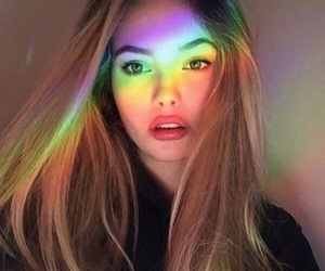 girl, rainbow, and beautiful image