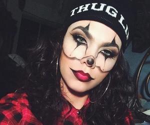 clown, dark, and girl image