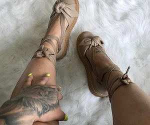 footwear, brown, and lacey image
