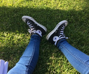 black, converse, and day image