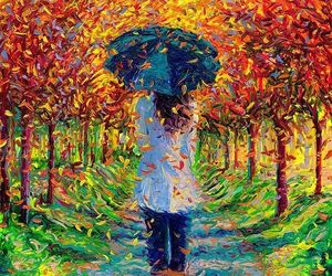 art, painting, and autumn image
