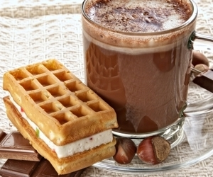 chocolate and waffles image