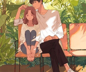anime, couple, and art image