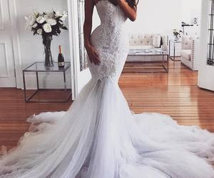 wedding dress, wedding, and mermaid wedding dress image