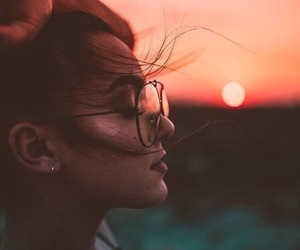 girl, sunset, and photography image