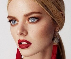 blue eyes, model, and red lipstick image