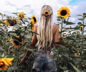 hair, sunflower, and flowers image