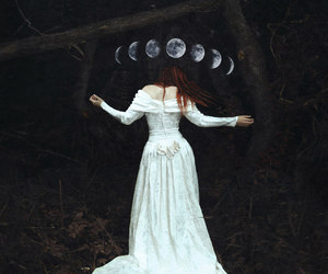 moon, witch, and dark image