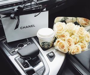 chanel, car, and starbucks image