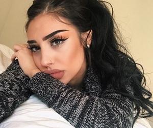beauty, brunette girl, and eye makeup image