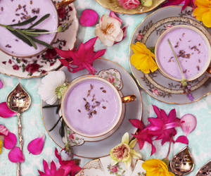 tea, flowers, and food image