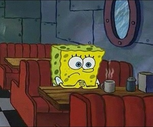 spongebob, alone, and sad image