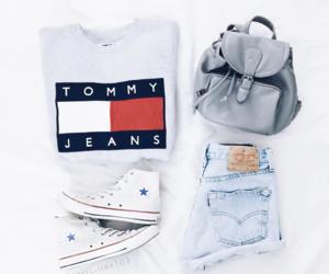 bag, denim, and sneakers image
