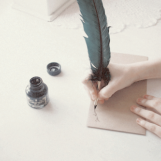 Letter, vintage, and feather image