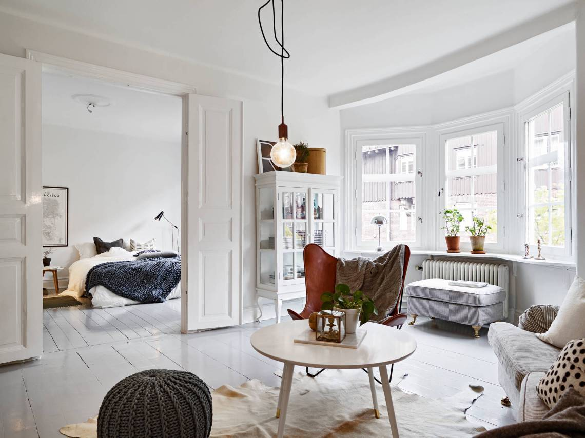 apartment, bedroom, and living room image