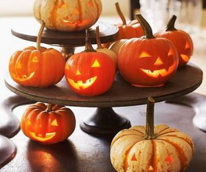candles, faces, and pumpkin image