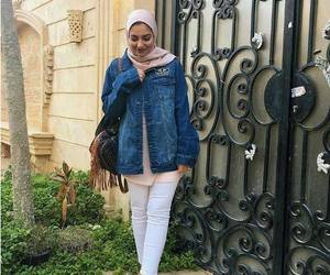 hijab and over sized jean jacket image