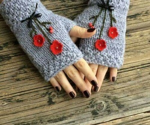 winter, crochet, and gloves image