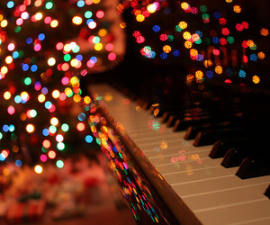 piano, light, and christmas image