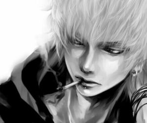 anime, grey, and paintting image