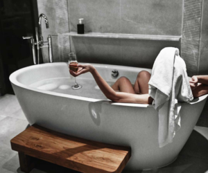 bath, relax, and wine image