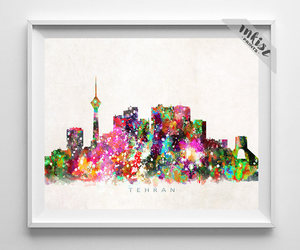 cityscape, wallart, and watercolor image