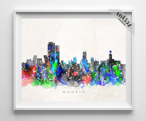 cityscape, etsy, and watercolor painting image