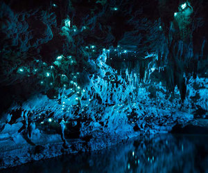 blue, cave, and light image
