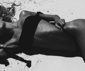 b&w, beach, and body image