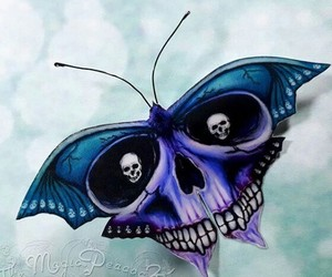 black, blue, and butterflies image