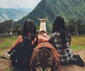 girls, mountains, and travel image