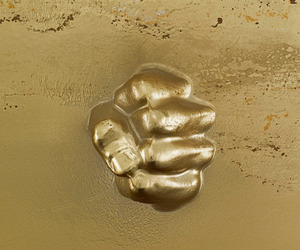 art, fist, and gold image