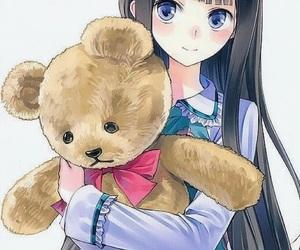 anime, anime girl, and teddy image